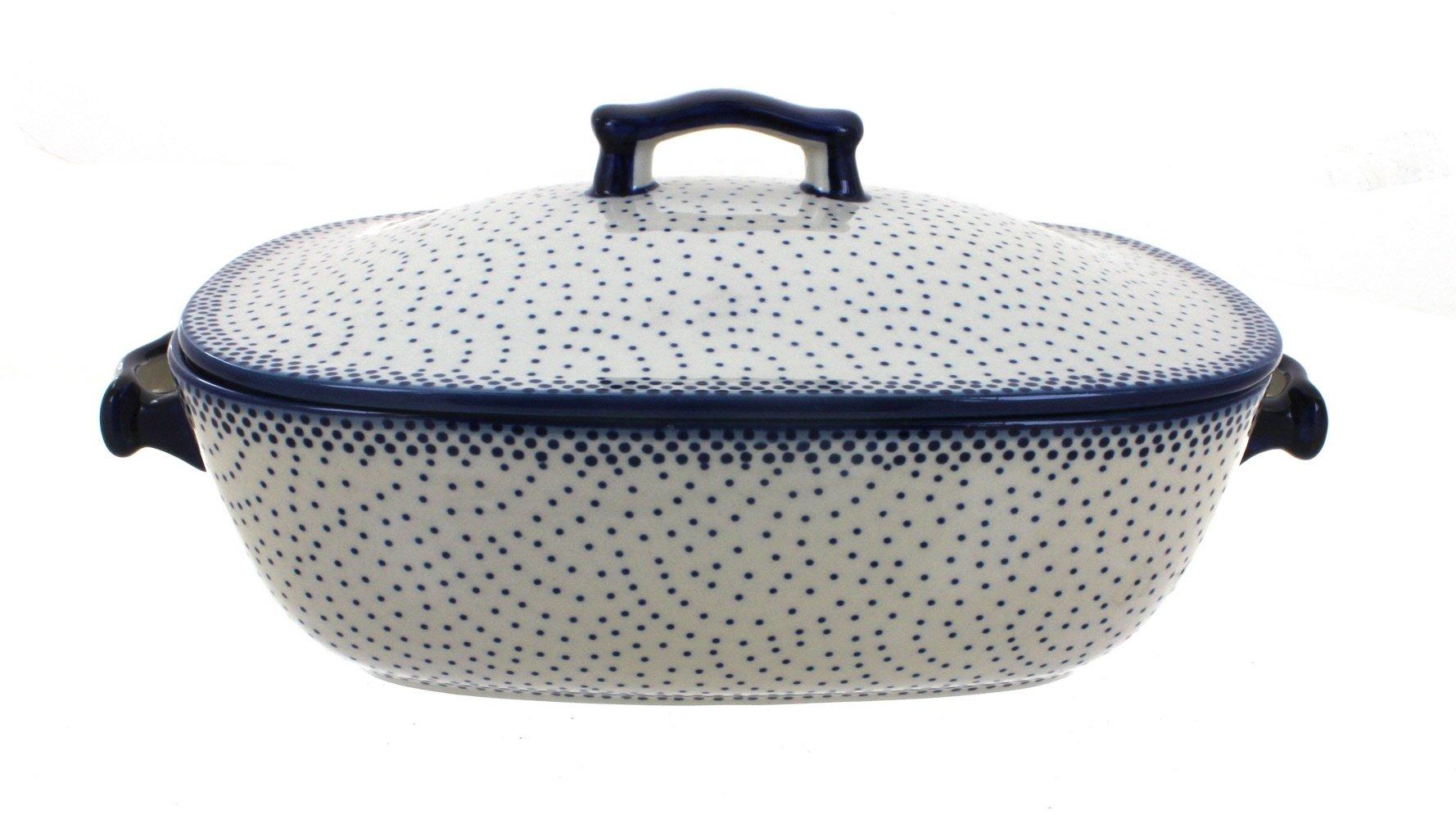 Blue Rose Polish Pottery Small Dots Covered Baking Dish