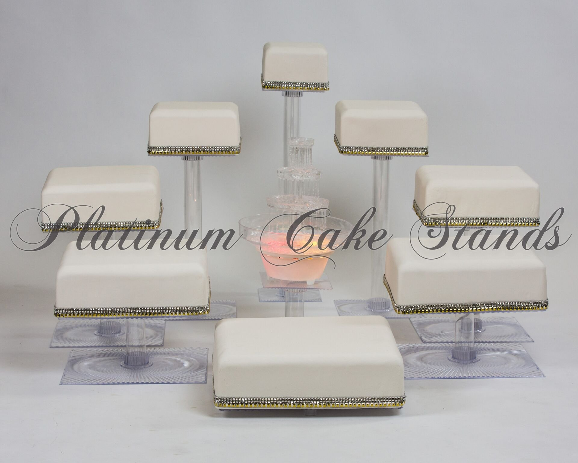 8 TIER SQUARE CASCADE WEDDING CAKE STAND WITH FOUNTAIN (STYLE SQ848)