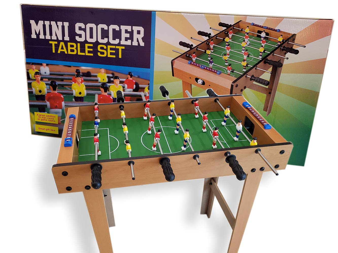 Pro Image Small Foosball Table Mini Soccer Game Room Table Set - Sports Arcade 30'' x 3.25'' x 14.5''. by Pro Image