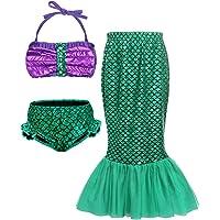 AmzBarley Girls Swimsuit for Kids Toddler Mermaid Two Piece Bikini Set Swimming Pool Party Bathing Suit Mermaid Tail Skirt Outfits 3-10 Years