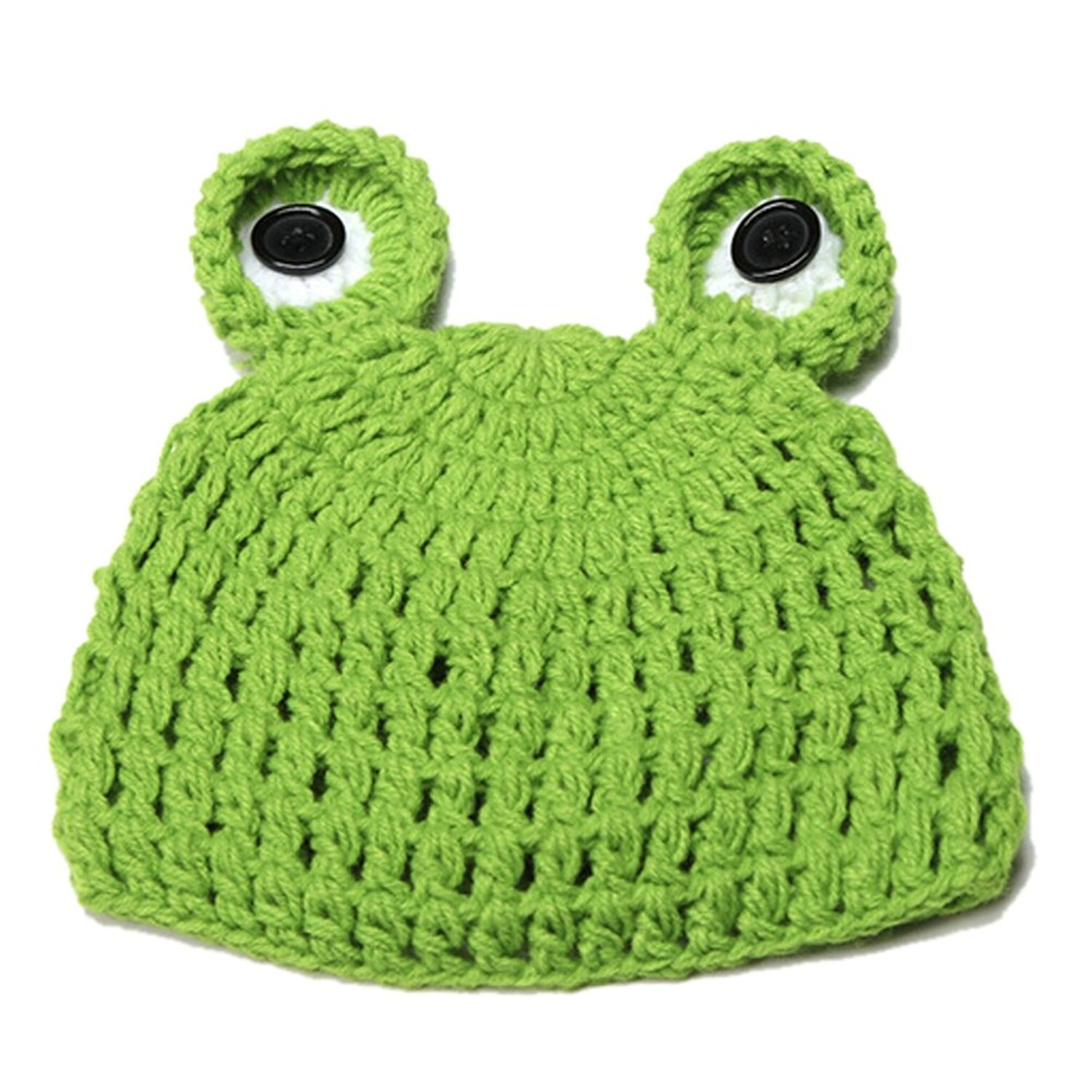 TOOGOO(R) Kids Handmade newborn Baby infant boy prince Girl Animal Beanie photography Props knitted caps & hats-Frog 041461A5