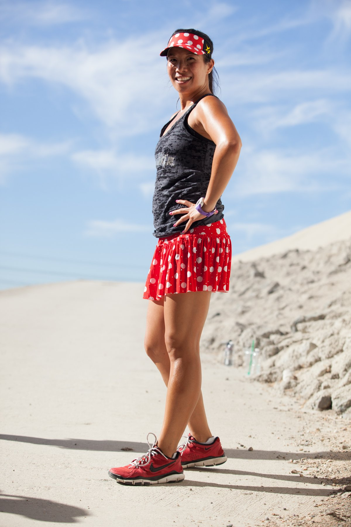 Red with White Polka Dots Sparkle Running Skirt S by Sparkle Athletic