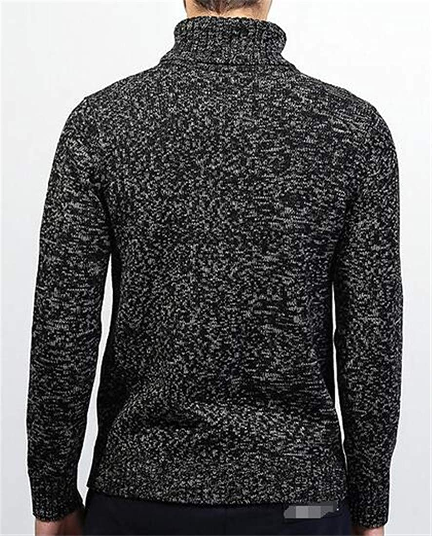 Revolutee Mens Fashion Burnout Knitted Turtle Neck Pullover Jumper Sweaters