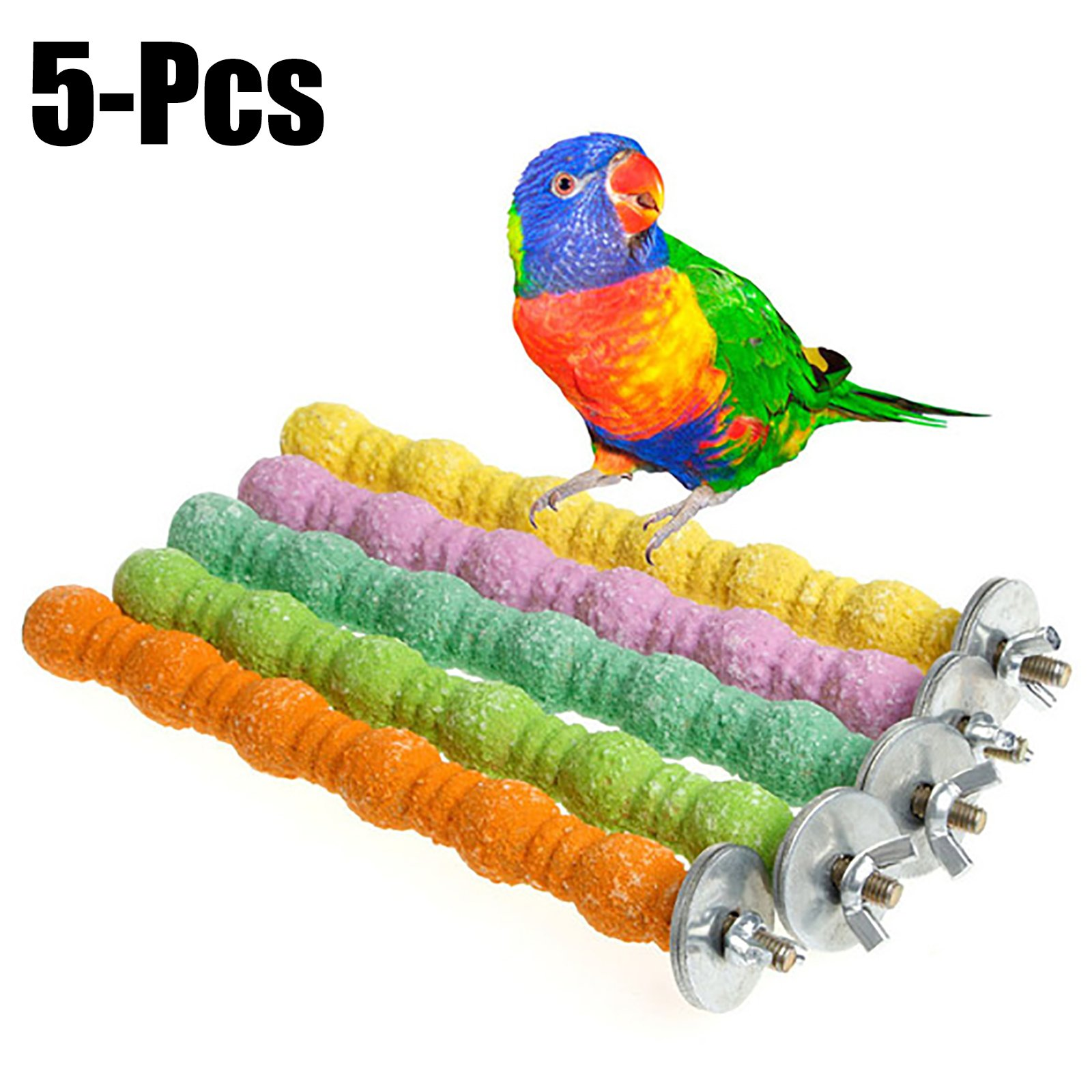 Legendog 5PCS Bird Stand Perches Bird Cage Perches Interactive Bite Resistant Bird Stand Toys Wood Perches(Random Color)