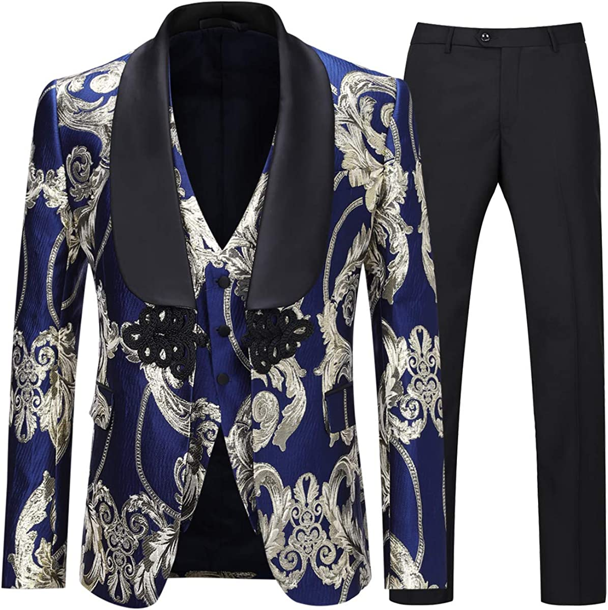 Boyland Men's Luxury Tuxedo Suit Slim Fit 3 Pieces Shawl Lapel Golden Floral Prom Dinner Tux Suit Jacket Vest Pants