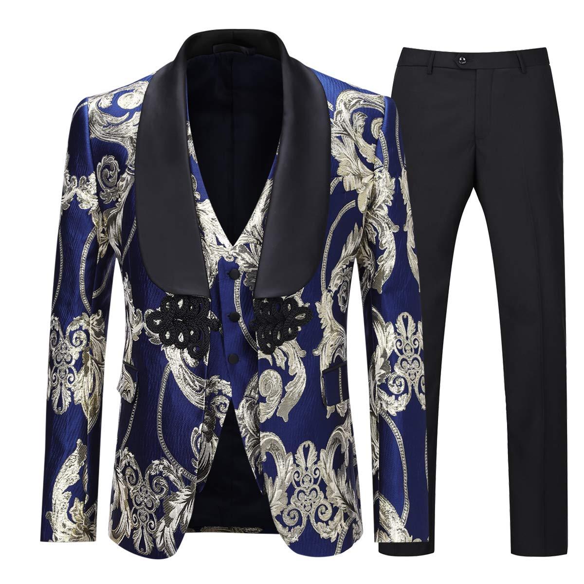 Boyland Men's Luxury Tuxedo Suit Slim Fit 3 Pieces Shawl Lapel Golden Floral Prom Dinner Formalwear Suit Jacket Vest Pants by Boyland