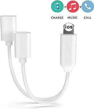 Adattatore jack per cuffie per iPhone 11 Adattatore 3,5 mm Aux Audio Stereo Cuffie Splitter per iPhone 7//7Plus//8//8Plus//X//XS//XR Ricarica Connettore per cuffie Supporto iOS 12 Bianco and Nero