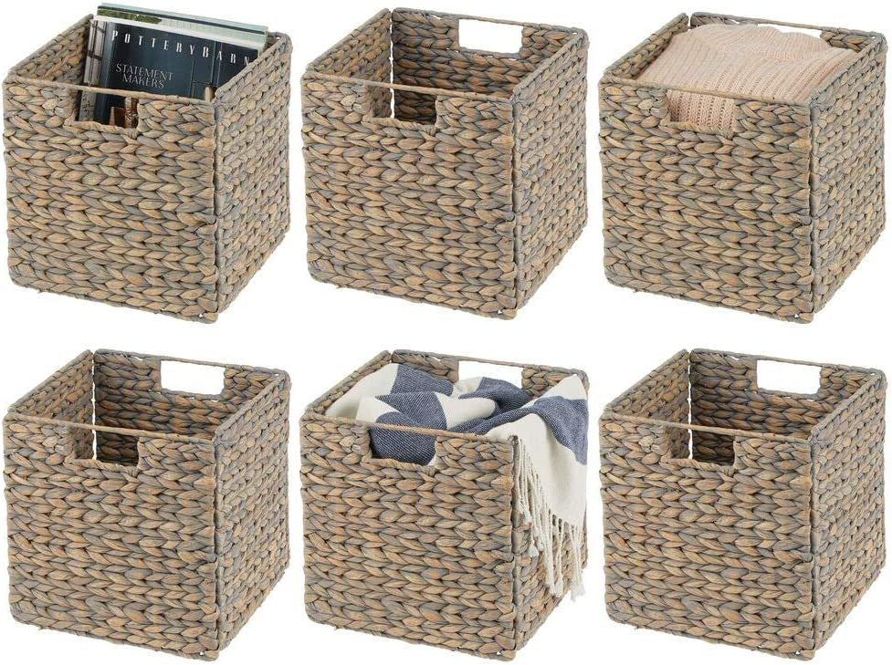 mDesign Natural Woven Hyacinth Closet Storage Organizer Basket Bin - Collapsible - for Cube Furniture Shelving in Closet, Bedroom, Bathroom, Entryway, Office - 6 Pack - Gray Wash