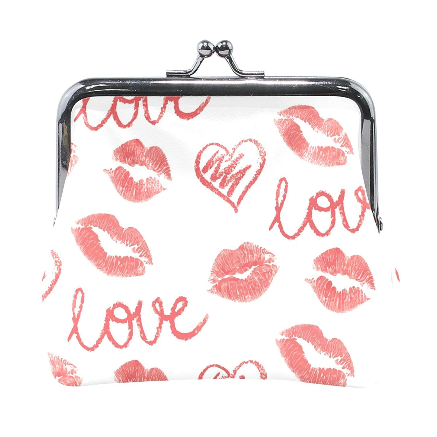 Coin Purses Lips Love Kiss-lock Buckle Vintage Clutch Cosmetic Bags