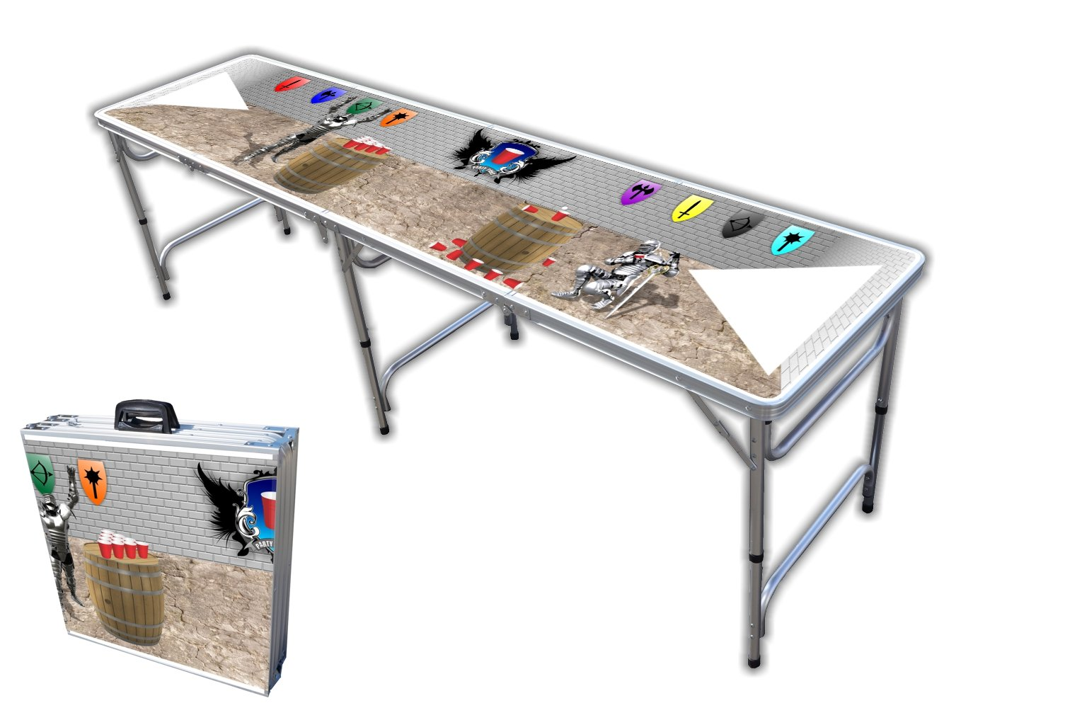 8-Foot Professional Beer Pong Table - Medieval Pong Graphic by PartyPongTables.com