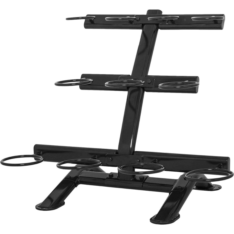 GORILLA SPORTS Kettelbell-Ablage mit 3 Ebenen Schwarz - Hantelständer für 11 Kugelhantel bis 200 kg belastbar