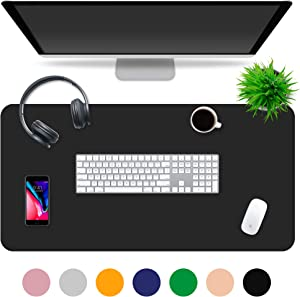 """Multipurpose Office Desk Pad and Computer Desk Mat - Waterproof Office Desk Mat and Desk Blotter Pad - Home Office Accessories (Large (35.5"""" x 17.5""""), Deep Space Black)"""