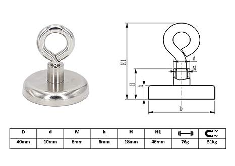 intervisio 2 imánes con hembrilla de neodimio Ø 40 mm, fuerza de atracción 50 kg, imán con argolla ultra potente y muy robusto: Amazon.es: Oficina y ...