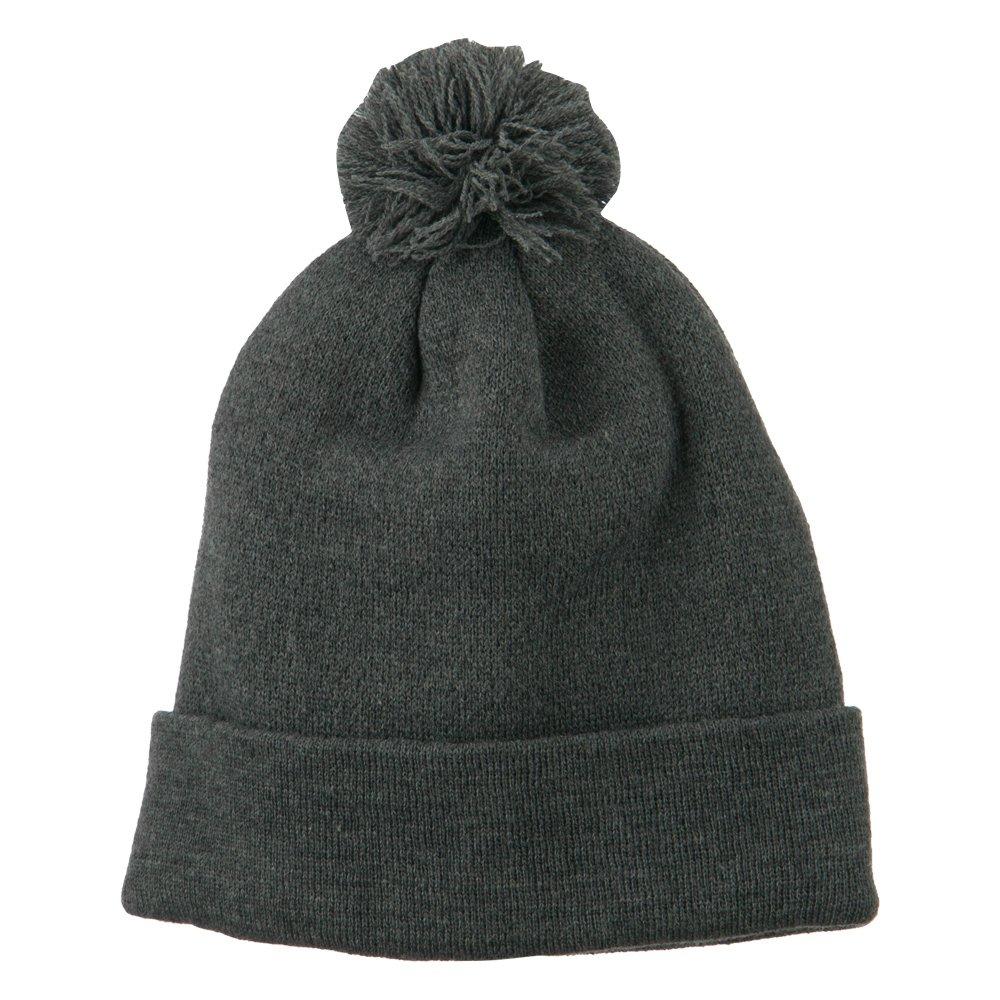 d76c7e0b3d1c9 Amazon.com: MG Pom Beanie with Cuff - Dark Grey OSFM: Clothing
