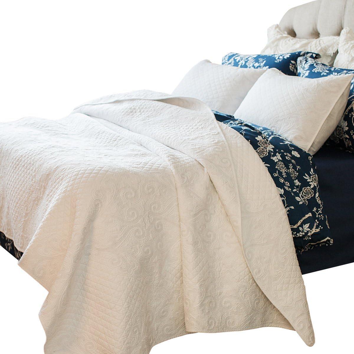 Brandream White Shabby Vintage Bedding Set Queen Size Bed Quilt Set 100% Cotton Coverlet Set