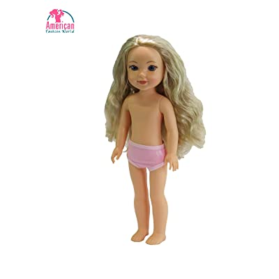 American Fashion World 14 inch Curly Blonde Haired Doll: Toys & Games