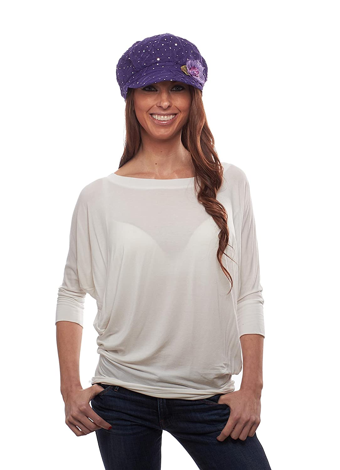 Glitter Sequin Newsboy Cap with Sparkle Flower, Purple with Flowers Greatlookz Fashion 5HRT71485A-C65U