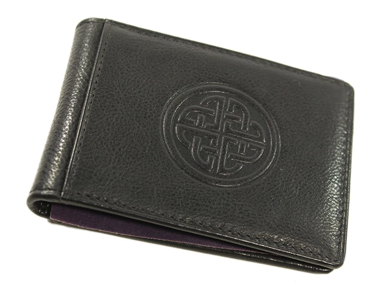 Money Clip Wallet Celtic Eternity Knot Genuine Leather Black Lee River Leather
