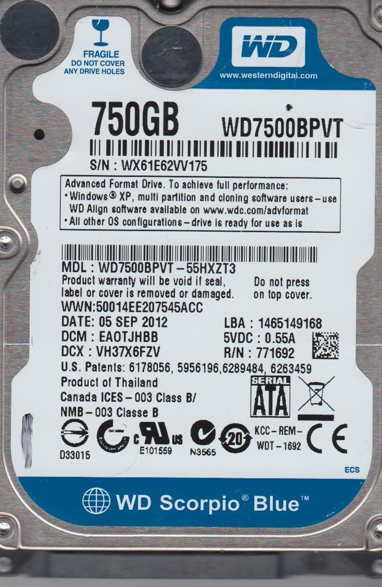 WDC WD7500BPVT DRIVERS WINDOWS 7 (2019)