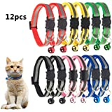 TCBOYING Breakaway Cat Collar with Bell, Mixed Colors Reflective Cat Collars - Ideal Size Safe Pet Collars for Cats or Small Dogs(12pcs/Set)