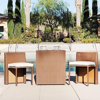 Nice Fanciful Home U0026 Garden Decor Conversation Set Rattan 3 Piece With Cushions  Casual Outdoor Patio Furniture
