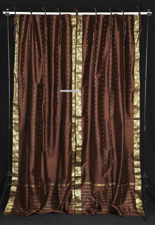 Indian Selections Brown Tie Top Sheer Sari Curtain/Drape/Panel - 43W x 84L - Piece