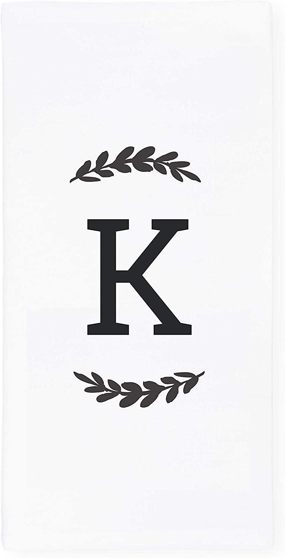 The Cotton & Canvas Co. Personalized Single Monogram Initial K Soft Absorbent Kitchen Tea Towel, Flour Sack Towel, Dish Cloth