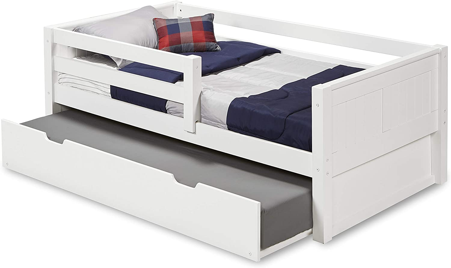 Camaflexi Panel Style Solid Wood Day Bed with Trundle and Front Rail Guard, Twin, White
