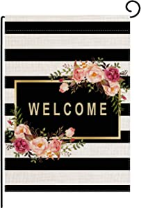 pingpi Personalized Floral Garden Flag,Welcome Flag,Welcome Friends,Farmhouse Decor,Yard Decor,Outdoor Decor,Black and White Stripes Garden Flag 12.5 X 18 Inch