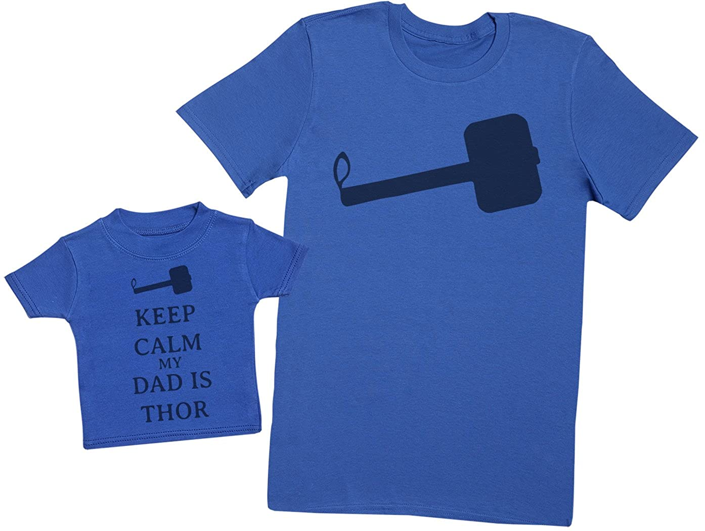 Matching Father Baby Gift Set Mens T Shirt /& Baby T-Shirt Medium /& 6-12 Months Keep Calm My Dad is Thor Blue
