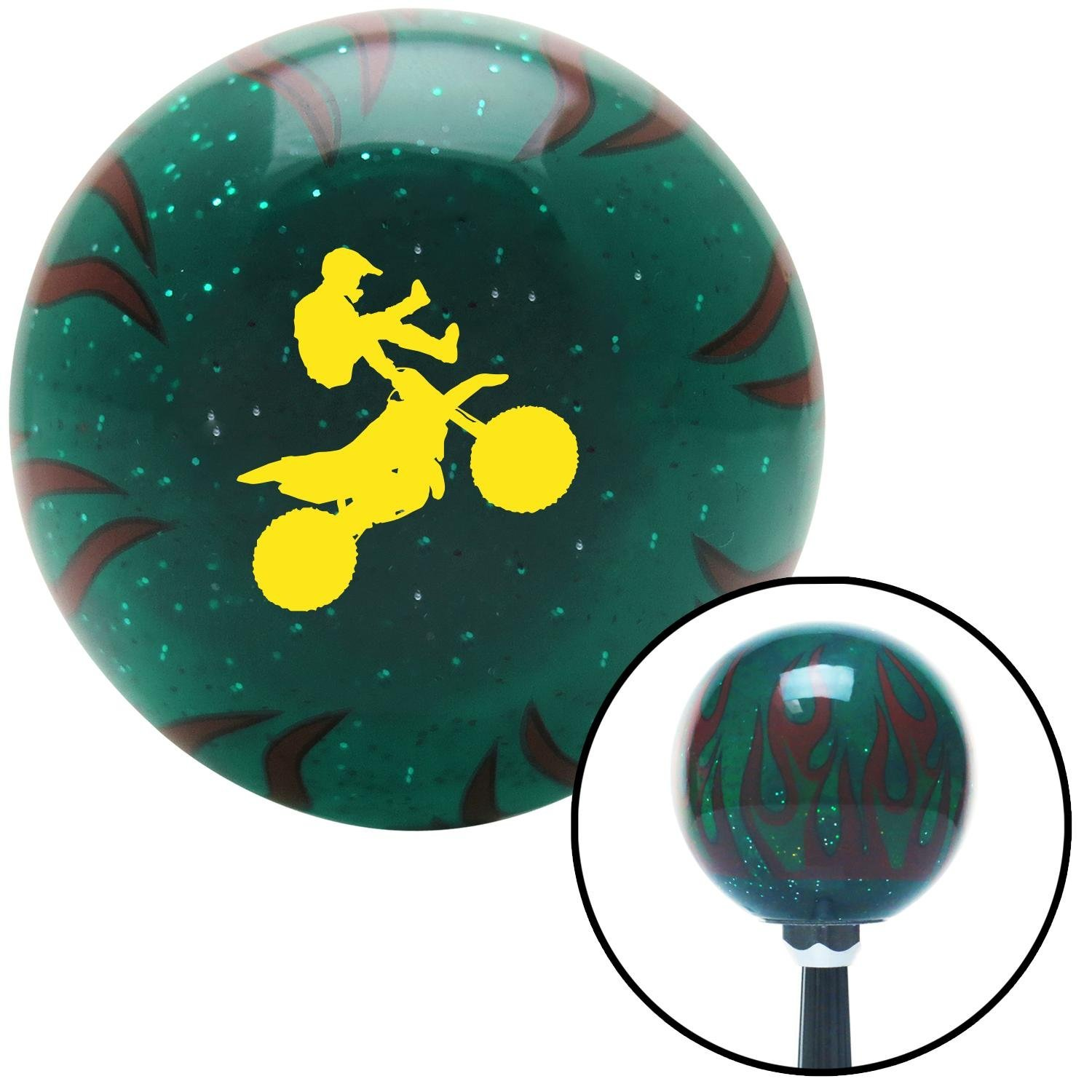 Yellow Motocross Rider American Shifter 265135 Green Flame Metal Flake Shift Knob with M16 x 1.5 Insert