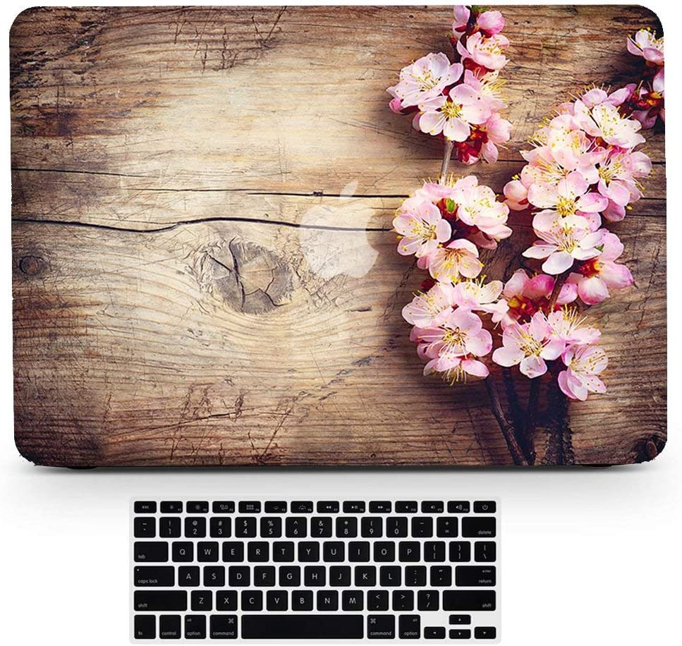 Bizcustom MacBook Air 13 A1932 with Retina Touch ID Wood Grain Pink Cherry Blossom Flower Floral Paint Hard Rubberized Shell Bottom Case Keyboard Cover for MacBook Air 13 Late 2018 Years