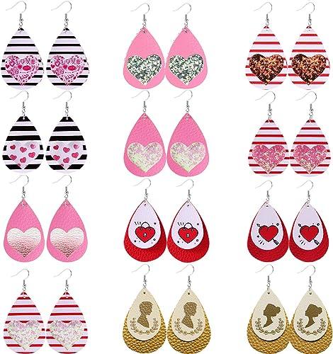 Boho Fashion Multilayer Heart Drop Dangle  Leather Earrings for Women Jewelry
