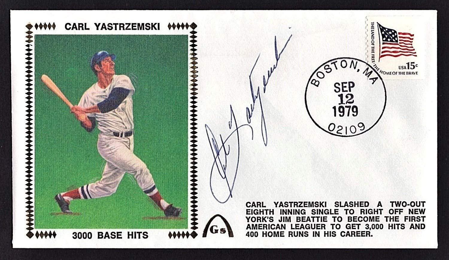 Carl Yastrzemski Autographed Signed Gateway Envelope 3000 Base Hits Beckett Coa