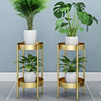 Ezzu Crafts Set of 2 Modern Tall Plants Stand, Potted Plant Display Rack Holder Black Metal Shelf 2 Round Tray Set, Sturdy Flowers Pot Base for Indoor Outdoor Home Decor Fit Up-to 12 Inch Planter