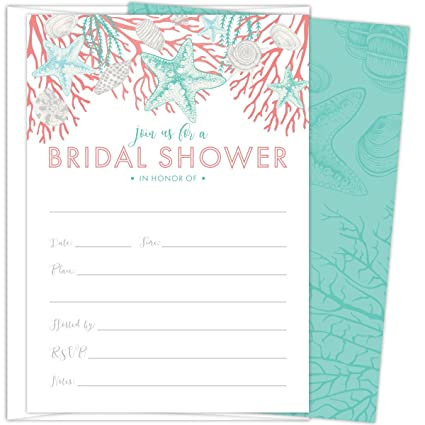 beach bridal shower invitations set of 25 cards and envelopes fill in style with