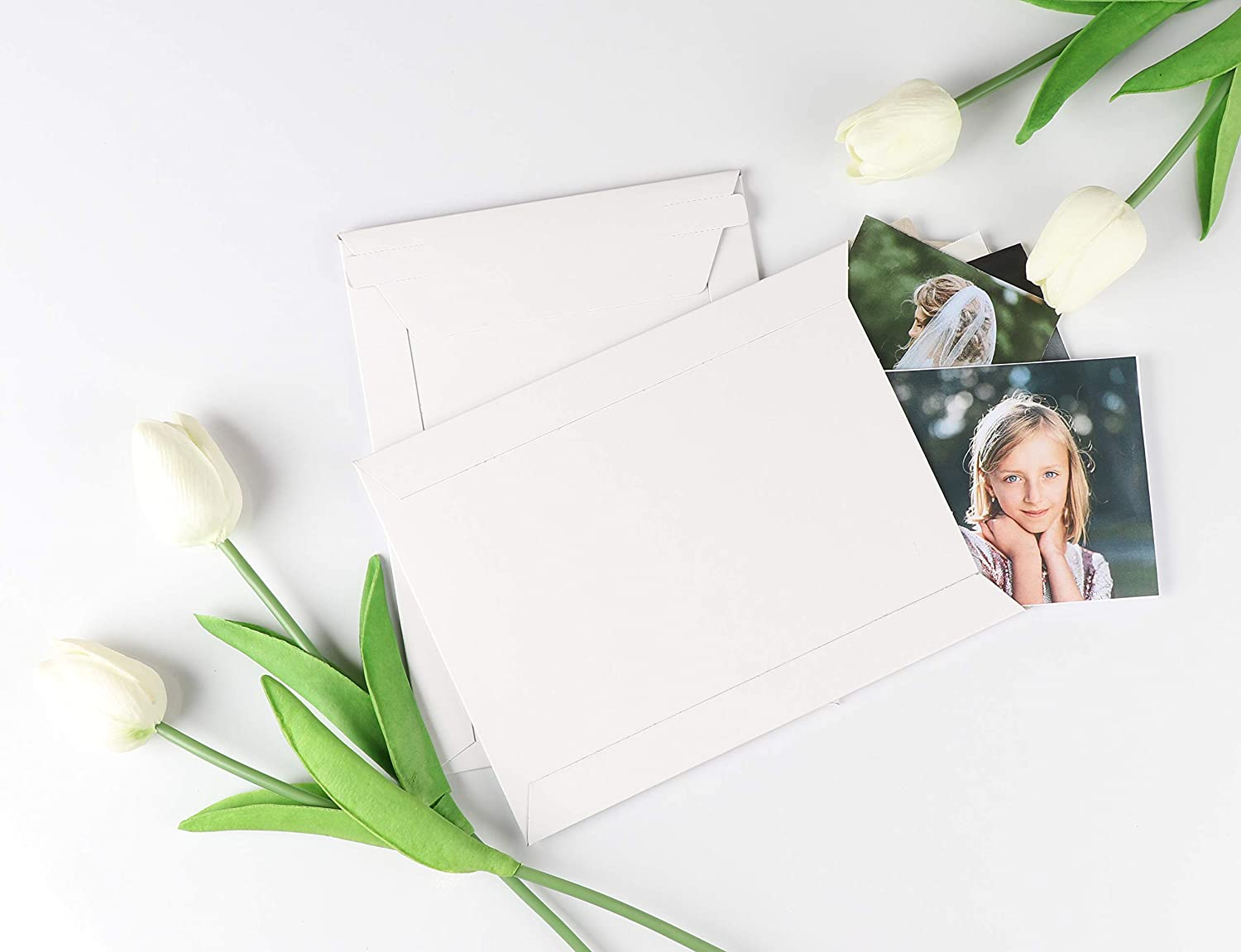 CDS No Bend Self-Seal Paperboard Envelope Mailers for Photos 6 x 8 inches 100-Pack Stay Flat Photo Document Mailers Rigid Mailers Pictures White