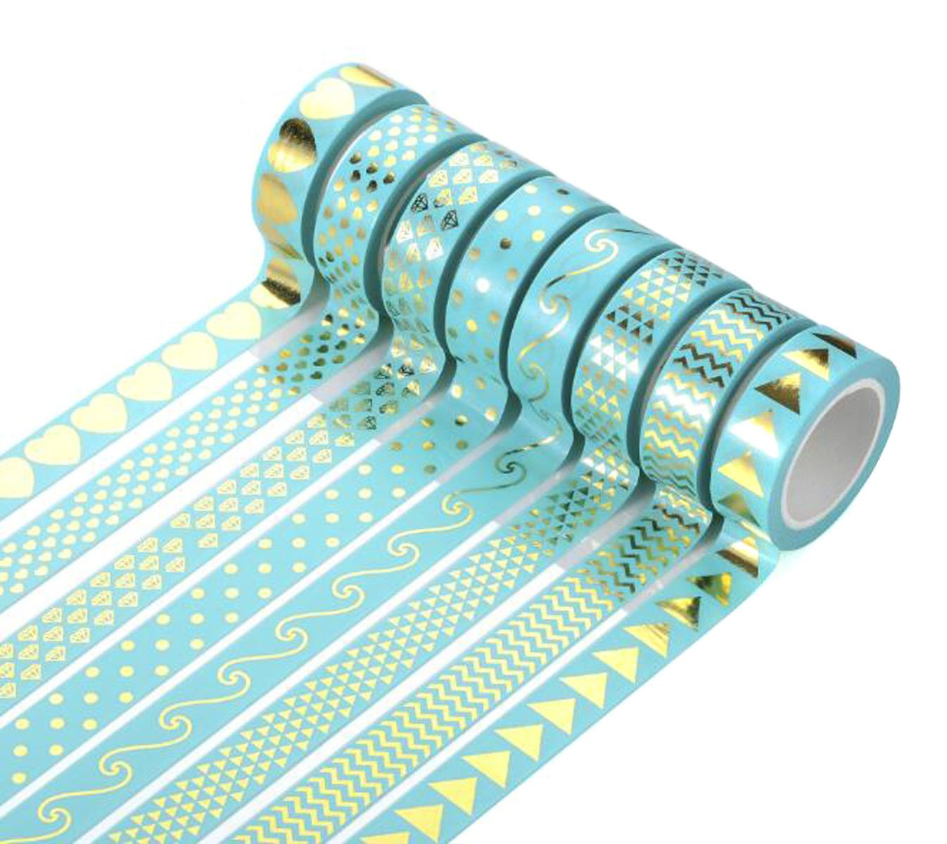8 Roll Bronzing Washi Tape - Length 32.8ft/Roll - 0.59 Width Bright Foil Gold Masking Tape for DIY Hand Account Notebook Decoration and Gift Nicedmm