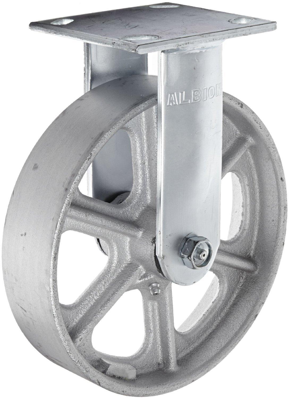 Roller Bearing Capacity 4-1//2 Length x 4 Width Base Plate ALB   16CA08201R 1250 lb 4-1//2 Length x 4 Width Base Plate Albion 16CA08201R 8 Diameter Cast Iron Wheel Medium Heavy Duty Rigid Caster