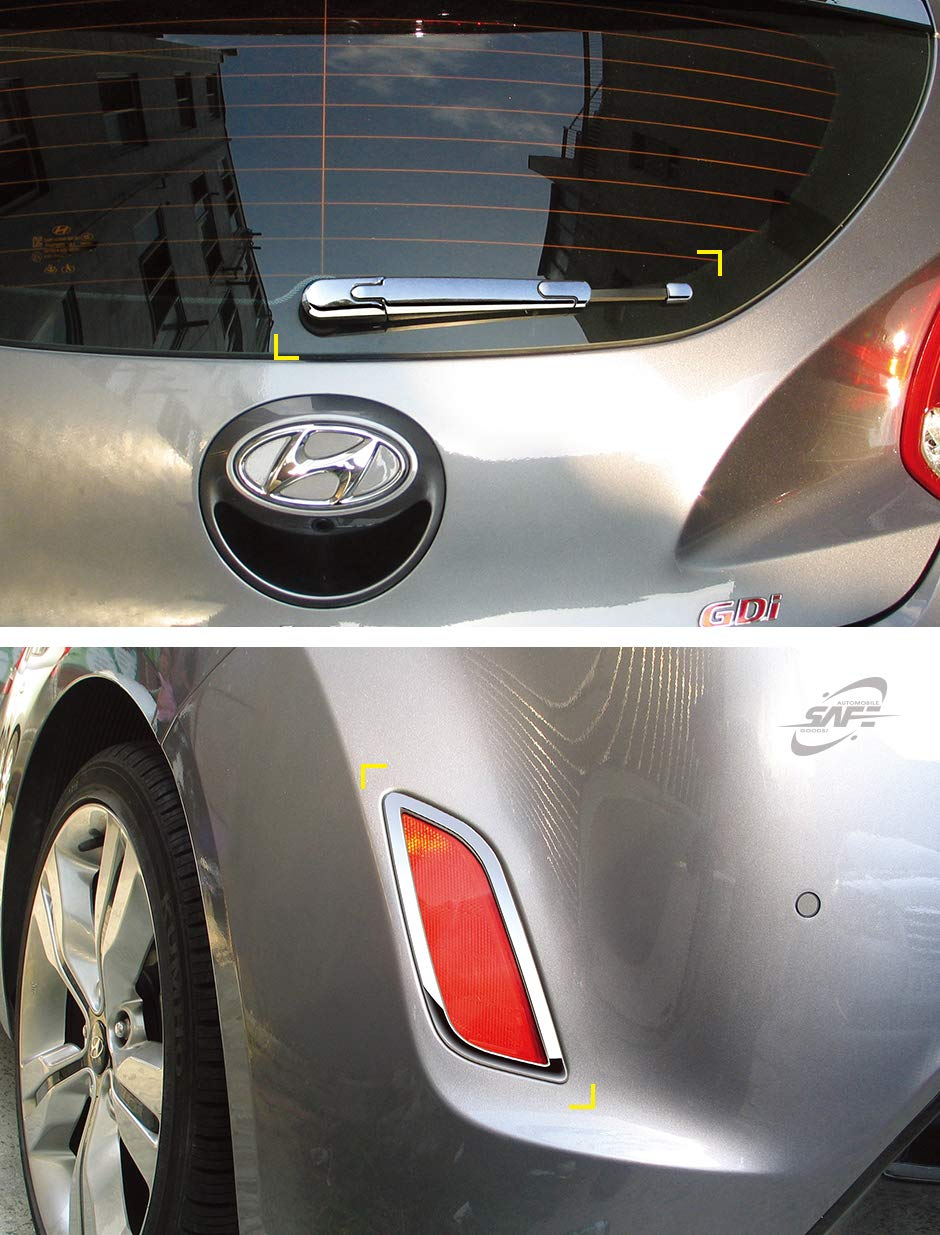 SAFE Chrome Rear Exterior Molding Trim Covers 6-pc Set For 2012 2013 Hyundai Veloster