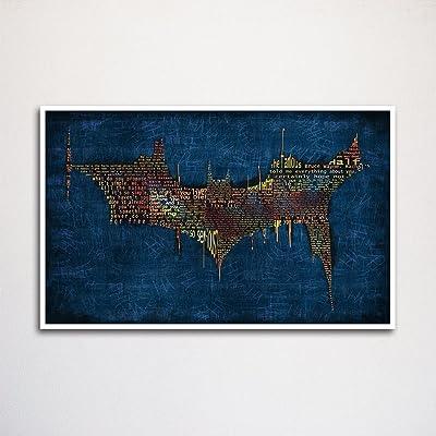 Batman Dark Knight word art print -11x17\