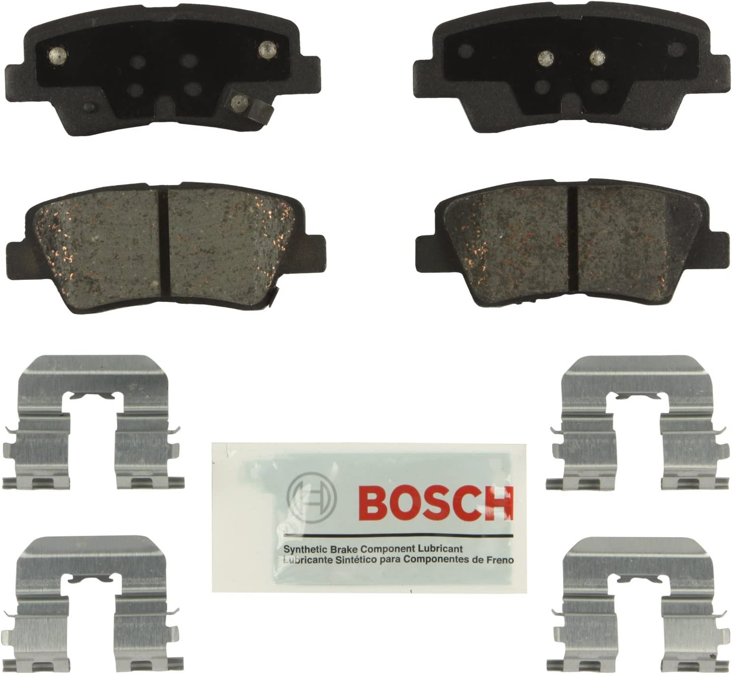 GMC Chevrolet FRONT Bosch BE924H Blue Disc Brake Pad Set with Hardware for Select Buick and Saab Cars and SUVs Hyundai Kia Cadillac