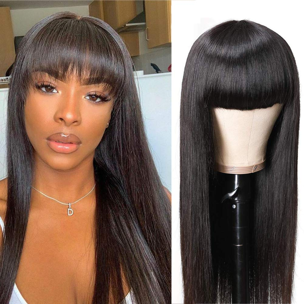 Amazon Com Bly Human Hair Wigs With Bangs 14 Inch Silky Straight 10a Brazilian Virgin Human Hair 130 Density Non Lace Front Wigs Full Machine Made Wigs For Black Women Natural Color Beauty