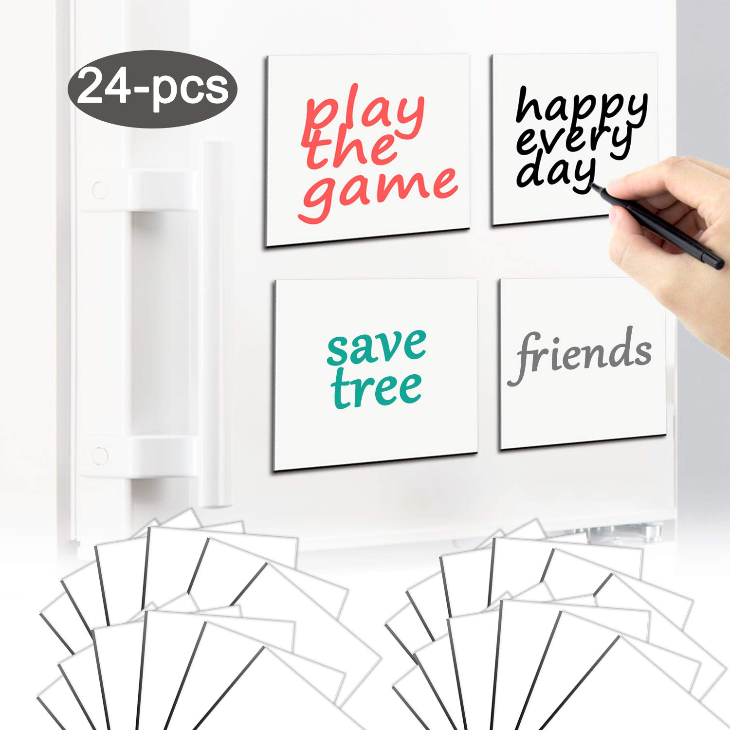 ZSYKD Magnetic Dry Erase Labels-Name Plates 4'' x 4'' Reusable,Effective on Schedule Board, whiteboard for Lockers, Fridge and Classroom Behavior Chart,Sticky Note Rectangle Magnet(24-Pack)