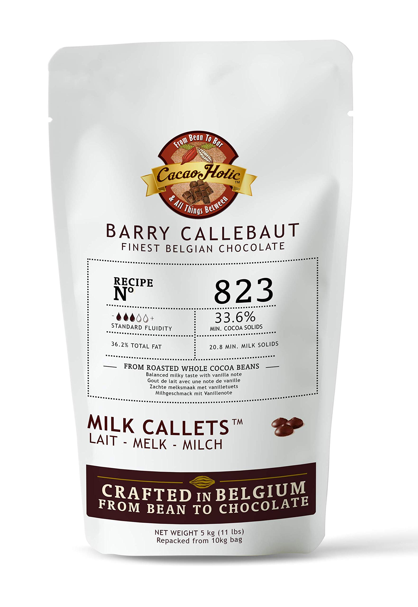 5kg Barry Callebaut Milk Chocolate Callets | 33.6% Cocoa | Barry Callebaut Chocolate Chips 823NV-595 | Cacaoholic Resealable Stand Up Pouch -11 LB Net Weight