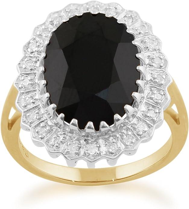 Jaune or 9 ct 7.00 CT Saphir Naturel et classique de diamant Bague de Cluster