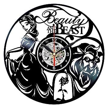 Reloj de pared con diseño romántico de la Bella y la Bestia en 3D con discos de vinilo, creativo, para decoración del hogar: Amazon.es: Hogar
