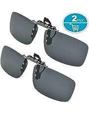 SPLAKS Clip on Sunglasses Polarized Sunglasses, 2 Pack Driving Flip Up Polarized Sunglasses Unisex Outdoors Frameless Rectangle Lenses Clip on Prescription Sunglasses Eyeglass Filter Strong Light-2 Dark Grey