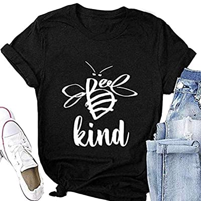 Women Be Kind T Shirt Cute Bee Graphic Short Sleeve O-Neck Blouse Summer Casual Tops Tees: Clothing [5Bkhe0304100]