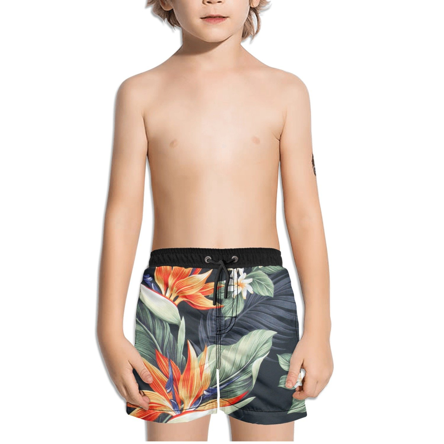FullBo Vintage Bird of Paradise Little Boy's Short Swim Trunks Quick Dry Beach Shorts